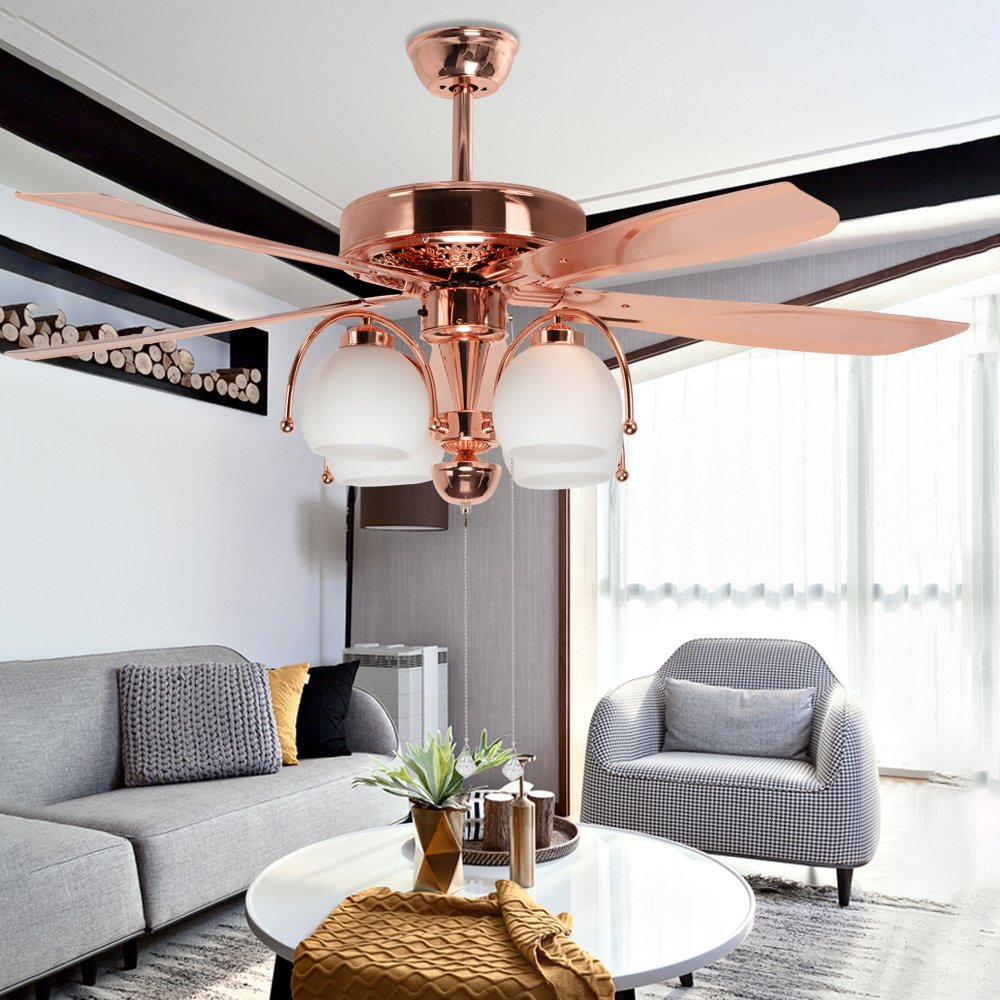 Akronfire Vintage Ceiling Fan Decoration Living Room Bedroom Indoor Pull Chain Control Silent Metal Fans Chandelier with 4 Milk White Glass Cover 5 ...