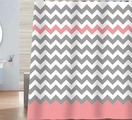 Grey And White Chevron Shower Curtain. Sunlit Zigzag Pink and Grey White Chevron Shower Curtain  Geometric Print Zig Zag Pattern Lines Amazon com