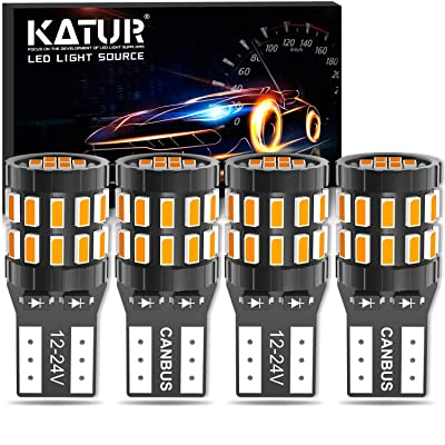 KATUR 194 T10 W5W 168 LED Light Bulb Super Bright Amber Yellow 30-SMD 3014 Chips 12-24V CANBUS Error Free LED Bulbs Replacement for Car Dome Map Door Courtesy License Plate Light(Upgraded Version): Automotive