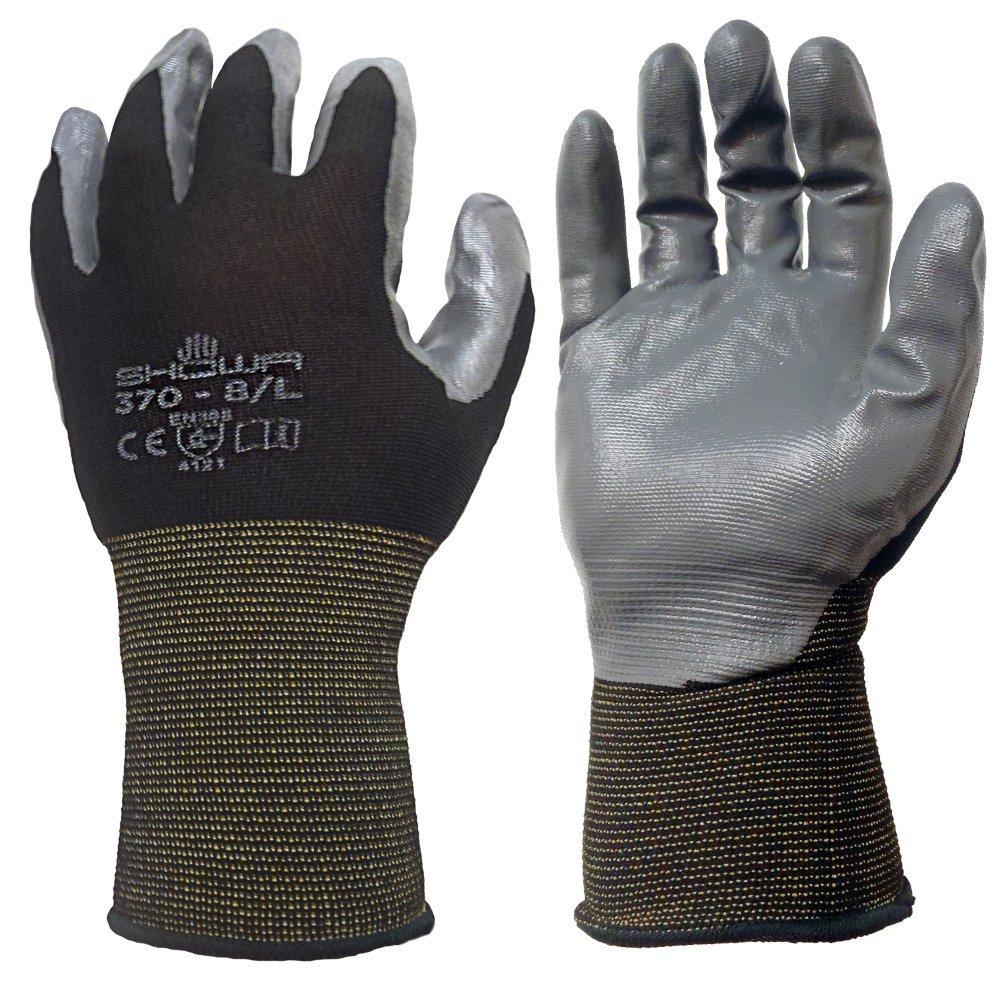 12 Pack - SHOWA Atlas 370 Black Work Gloves - Large by SHOWA
