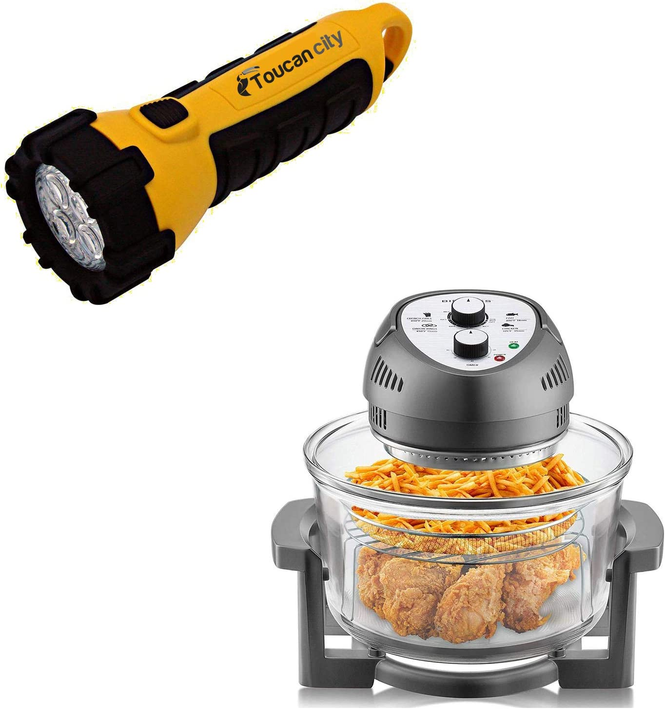 Toucan City LED Flashlight and Big Boss 16 Qt. Graphite Oil-Less Air Fryer with Built-In Timer 2249