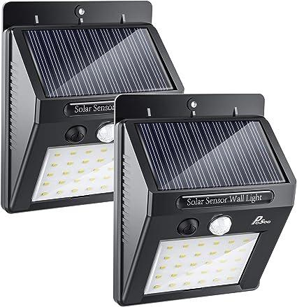 Luces Solares - Pesoo 30 LED Lámpara Solar Exterior Solar Luz LED Iluminación Exterior para Jardín Patio Terraza Inicio Camino Escalera Exterior