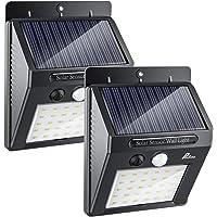 Luces Solares - Pesoo 30 LED Lámpara Solar Exterior Solar Luz LED Iluminación Exterior para Jardín, Patio, Terraza, Inicio, Camino, Escalera Exterior Paquete de 2 [Clase de eficiencia energética A+++]