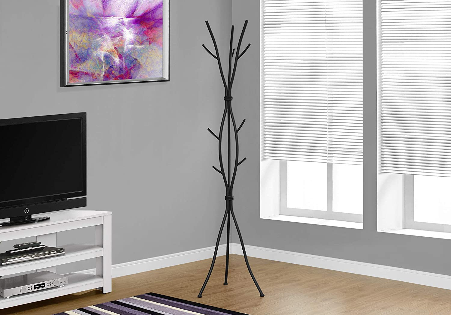 Monarch Specialties Coat Rack - Coat Tree with 8 Hooks, Hammered Metal 74