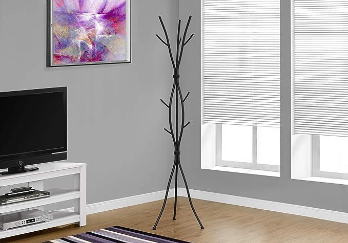 Monarch Specialties Coat Rack - Coat Tree with 8 Hooks, Hammered Metal 74
