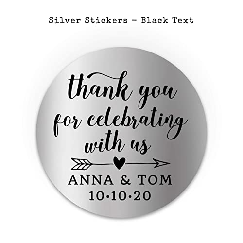Thank you for celebrating with us stickers Personalised with your names and date