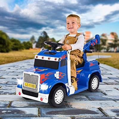 VALUE BOX Kids Ride On Truck Crane 2.4G Remote Control w/ 3 Speeds, Children Electric Ride-on Toy Car 6V Battery Motorized Vehicles Age 3-7 w/ LED Lights, Horn, Music, Easy Start/Stop Button (Blue): Toys & Games [5Bkhe1107244]