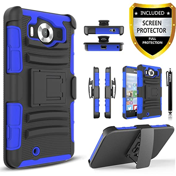 quality design 96d8a e084a Lumia 950 Case, Combo Rugged Shell Cover Holster with Built-in Kickstand  and Holster Locking Belt Clip + Circle(TM) Stylus Touch Screen Pen And  Screen ...
