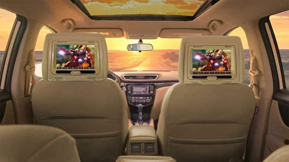 "Rockville RVD721-BG 7"" Beige Dual DVD/USB/HDMI/SD Car Headrest Monitors + Games"