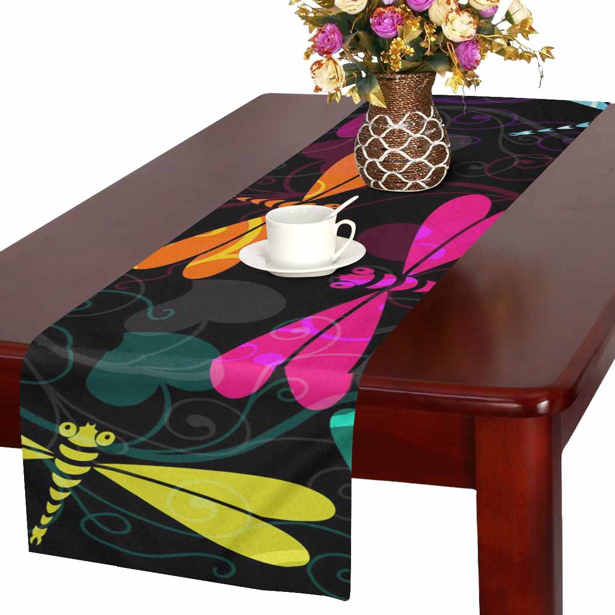 InterestPrint Table Runner 16in72in Print with Dark Colorful Dragonfly