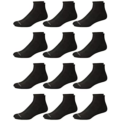 'Van Heusen Mens' Athletic Quarter Cut Basic Socks (12 Pack), Black, Size Shoe Size: 6-12.5' at Men's Clothing store