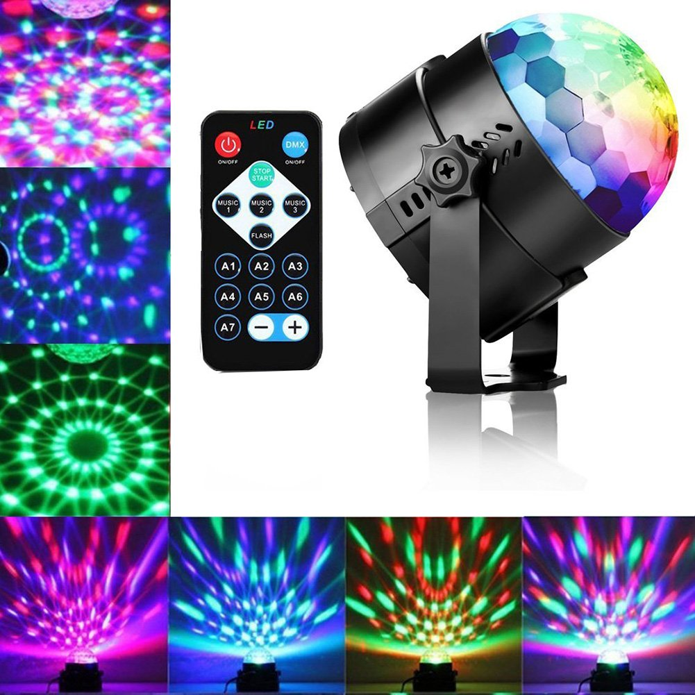OU-BAND Disco Lights Party Ball Bulb Sound Activated LED Strobe Light RGB Stage Lights with Remote Holidays, Home Party, Bar, DJ, KTV, Birthday (RGB)
