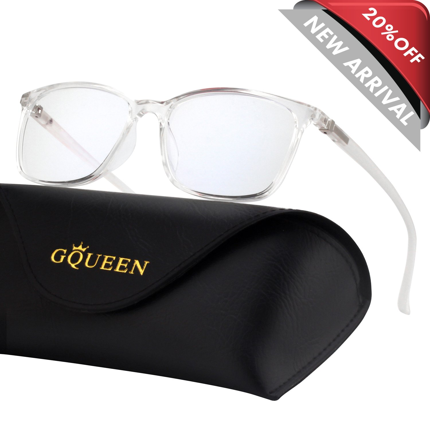 GQUEEN Blue Light Blocking Computer Glasses Gaming Better Sleep Anti Glare Eye Fatigue with TR90 Rectangle Frame Transparent Lens Unisex GQ318