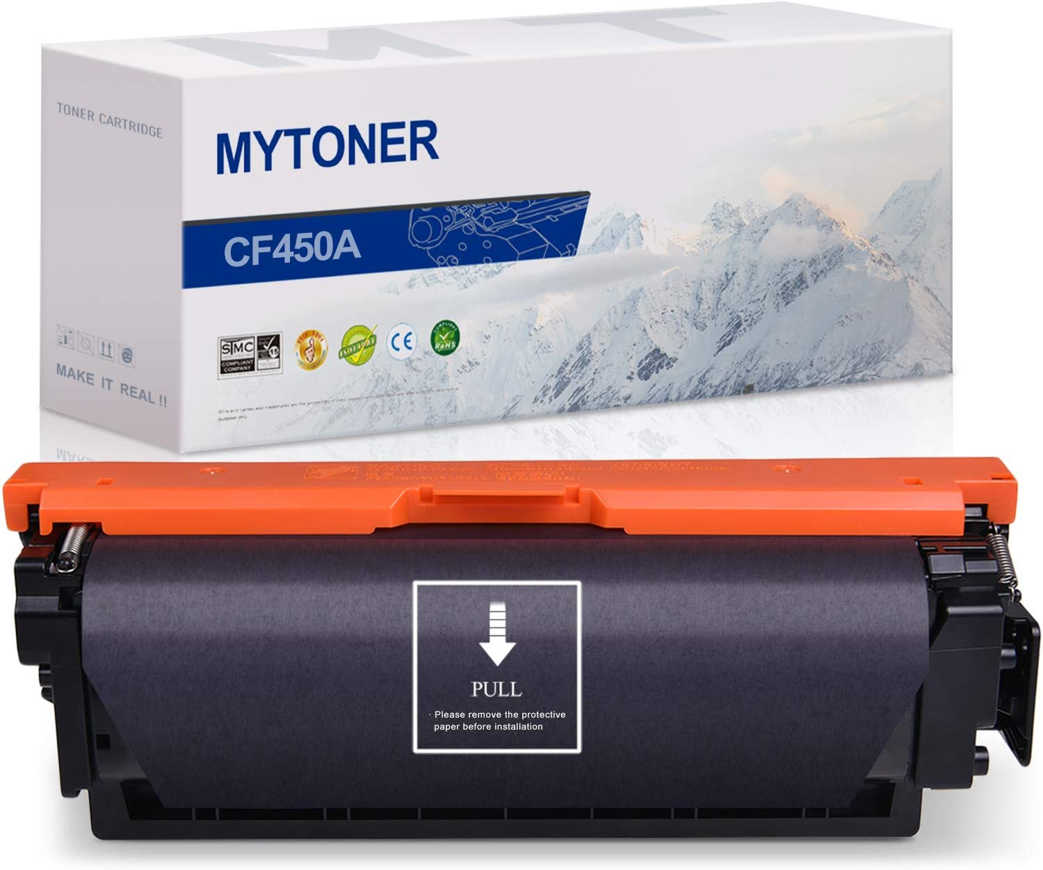 MYTONER Compatible Toner Cartridge Replacement for HP 655A CF450A Black for Color Laserjet Enterprise M652, M653, M681, M682 (Black, 1-Pack)