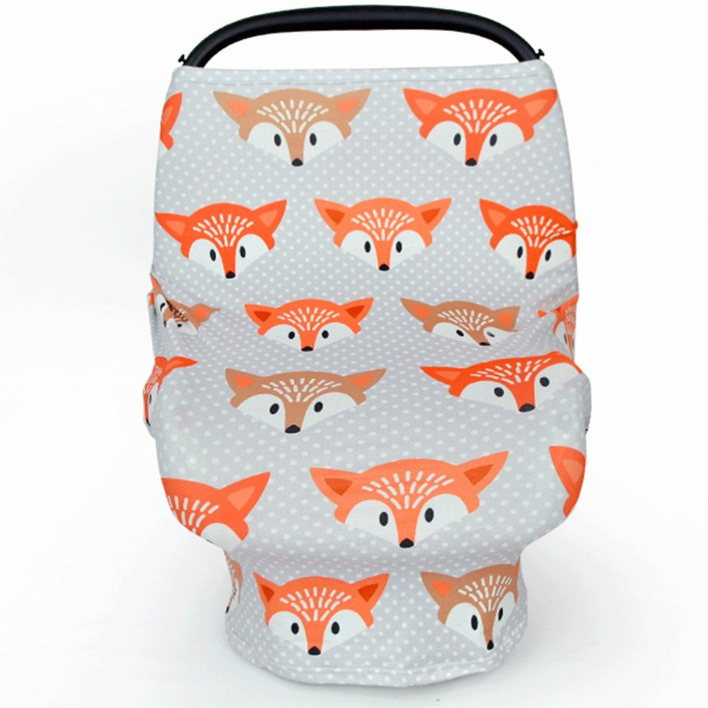 Multi Use Baby Car Seat Cover Infinity Scarf Nursing Breastfeeding Cover Foxes We2Otters
