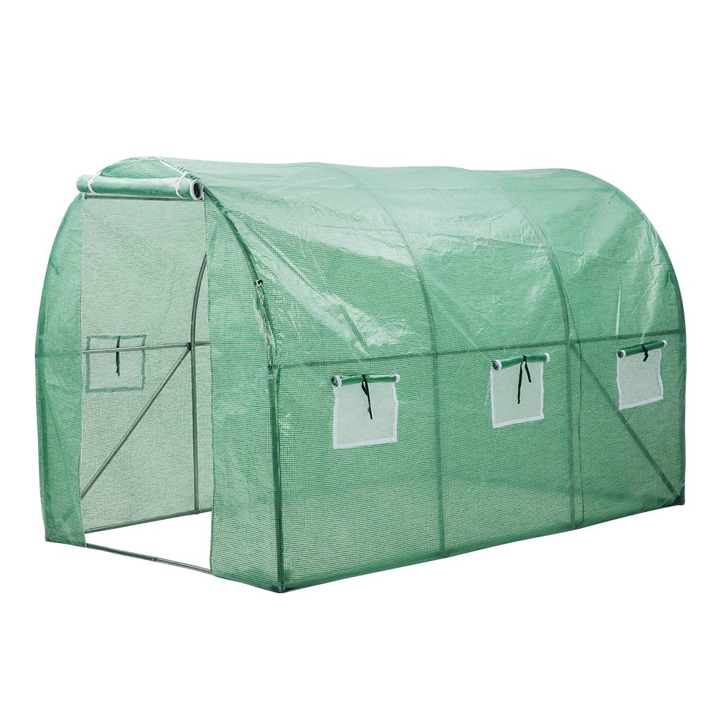 Finether Walk in Greenhouse with Clear Cover| Portable Green House with 6 Mesh PE Cover for Indoor Outdoor Plants Herb Flower Garden Balcony, Arched,56''x30''x76''