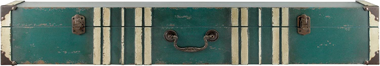 MCS 45885 Vintage Suitcase Wall Shelf in Distressed Aqua Finish with Cream Accent, 36