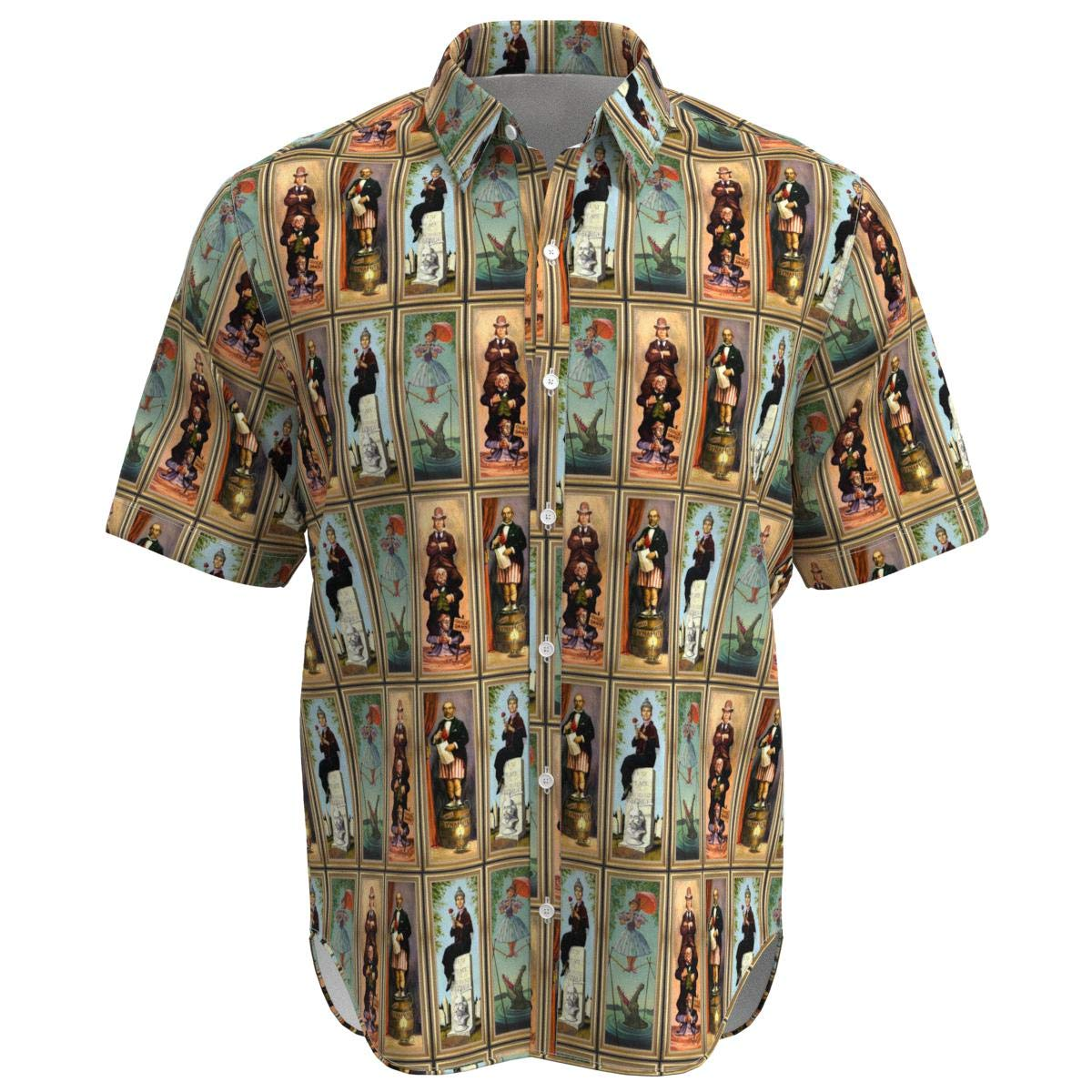 EightyThree XYZ Haunted Mansion Stretch Paintings Disney Inspired Men Short Sleeve Button Shirt Size XS-3XL