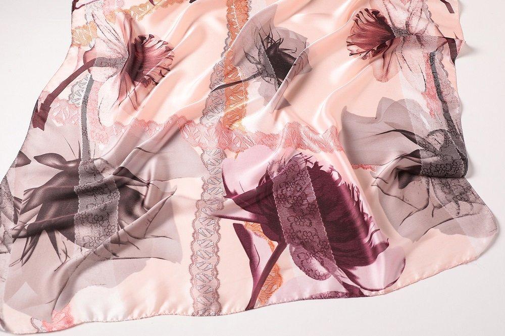 Luxury Designer Silk Feeling Women's Scraf Female Summer Long Shawl Wrap Pashmina Beach Stoles Hijabs (Pattern F C01) by DEMIODIN (Image #2)