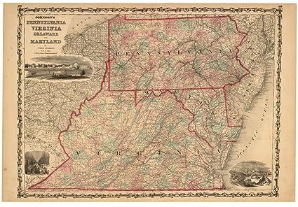 Pennsylvania Virginia Map.Amazon Com Vintage 1862 Map Of Johnson S Pennsylvania Virginia