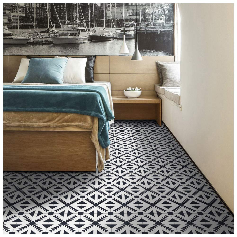 Amazon com apsoonsell geometric patterned home wall decor floor tile stickers peel and stick tile backsplash stickers for bedroom kitchen and bathroom