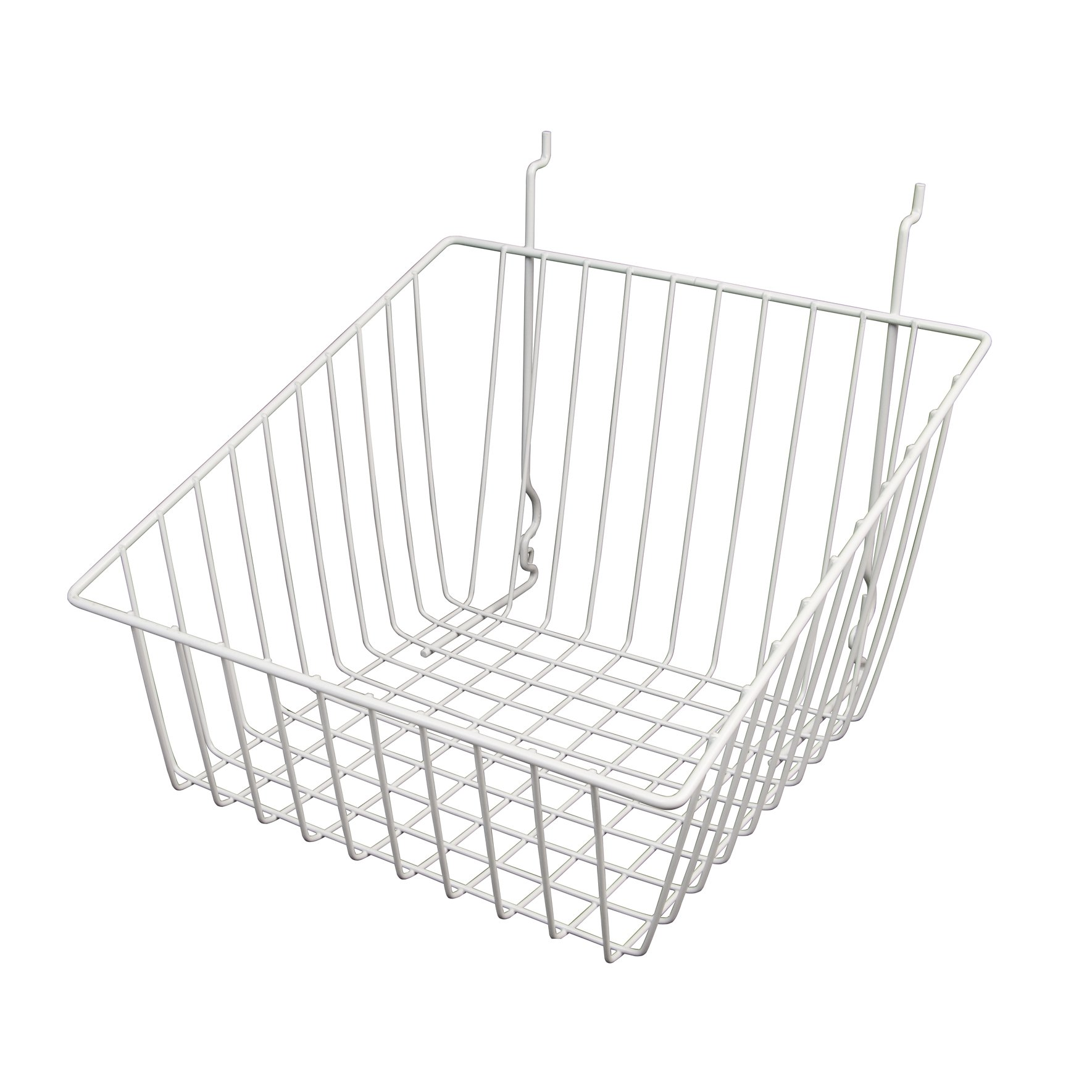 Wire Basket for Slatwall, Gridwall or Pegboard -Box of 6 - 12''W x 12''D x 8''H Sloped Front Basket