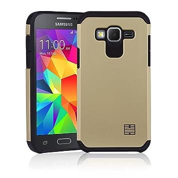 32nd Funda Armadura Rigida Slim Armour con Doble Carcasa para Samsung Galaxy Core Prime - Oro