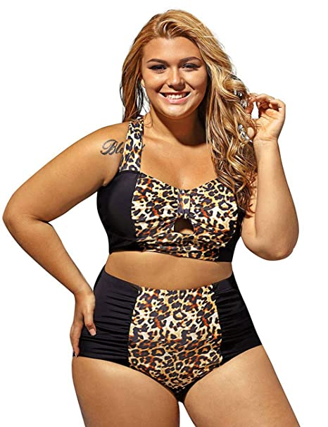 ebe833a8afa Amazon.com  Pinkyee Summer Beach Leopard High Waist Swimsuit Plus Size  Womens Bathing Suits Tummy Control Swimwear  Clothing