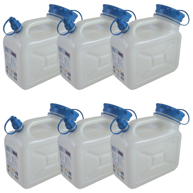 6x Weithals-Kanister 5 Liter PRO 6er Set Lebensmittelkanister Wasserkanister 5 Liter