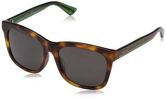 Gucci GG0057SK, Gafas de Sol para Hombre, Avana-Green-Grey, 56