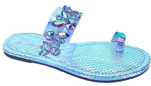 380912b6f Pazzle PSY-05 Hologram Slides Rhinestone Flip Flops Diamond Sandals Flats  Silver Pink Hologram 6