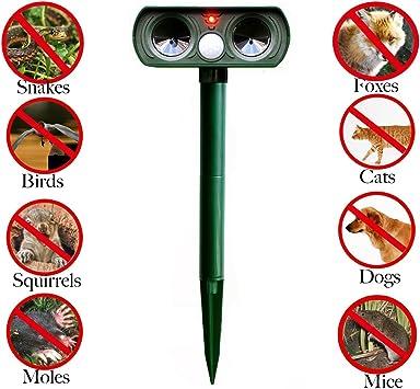 Ouguan - Repelente Solar ultrasónico para Perros y Gatos para ahuyentar al Aire Libre, Animales, Zorro de Ciervo para roedores, Pest Repelente con Sensor PIR para Granja y jardín: Amazon.es: Electrónica