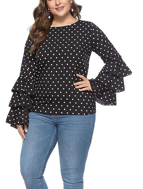 6222349c36bf8 Eternatastic Womens Polka Dot Blouse Ruffle Long Sleeves Round Neck Tee Tops  XL Black