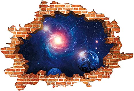 3d Blue Cosmic Galaxy Wall Decals Broken Old Red Drick Wall View Magic 3d Milky Way Outer Space Planet Stickers Murals Wallpaper Decor For Home Walls Floor Ceiling Living Room Kitchen