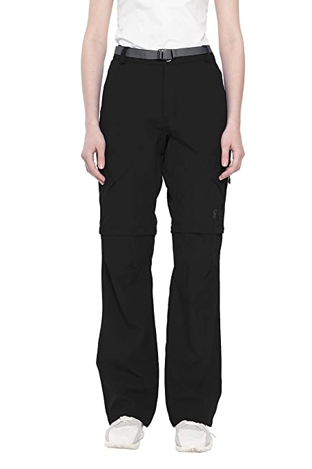 257911c94b Little Donkey Andy Women's Stretch Convertible Pants Zip-Off Quick Dry  Hiking Pants Black Size