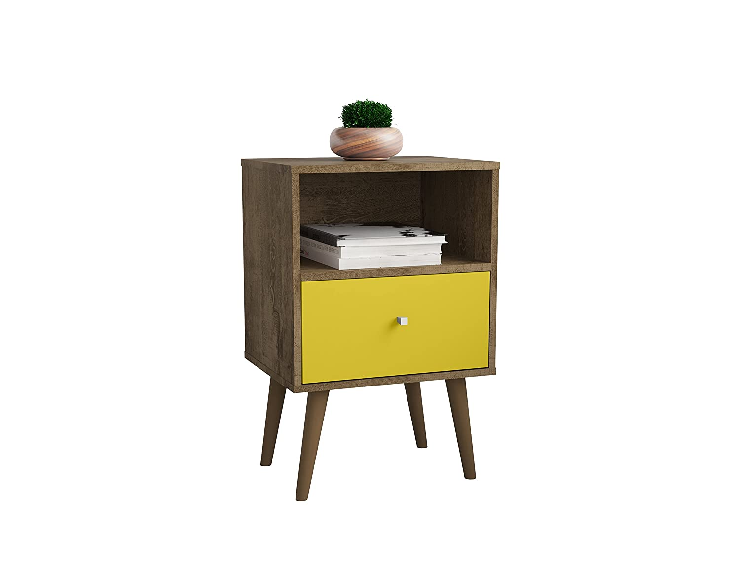 Rustic Brown Yellow Manhattan Comfort 203AMC94 Liberty Modern 1 Drawer Bedroom Nightstand End Table, Rustic Brown Yellow