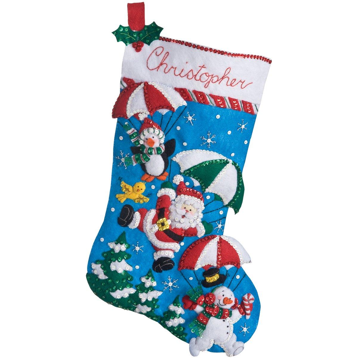 Bucilla 18-Inch Christmas Stocking Felt Applique Kit, 86325 Dropping In Plaid Inc