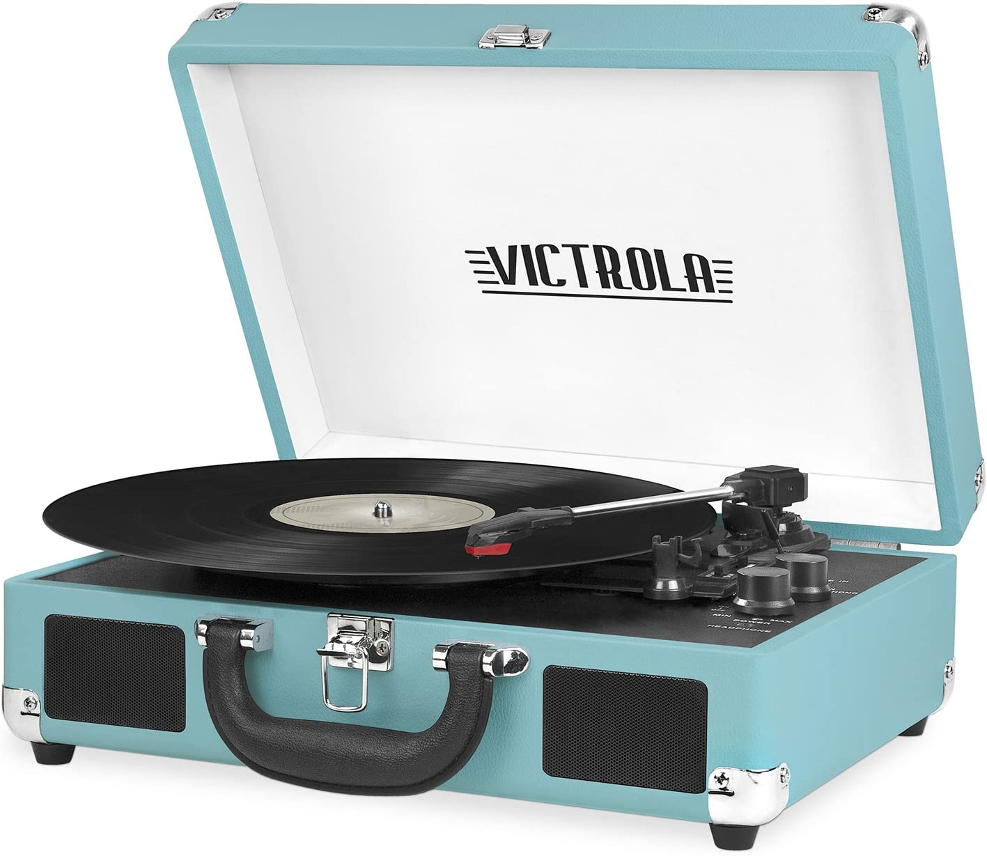 Victrola Vintage 3-Speed Bluetooth Portable Suitcase Record Player with Built-in Speakers | Upgraded Turntable Audio Sound| Includes Extra Stylus | Aqua Turquoise
