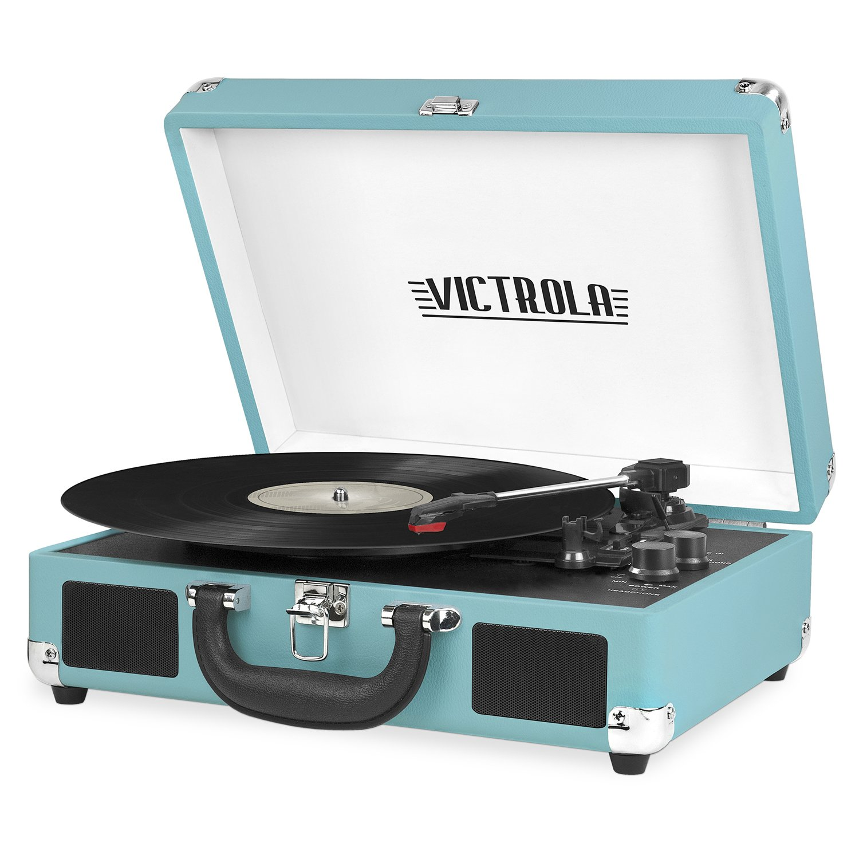 ویکالا · خرید  اصل اورجینال · خرید از آمازون · Victrola Vintage 3-Speed Bluetooth Suitcase Turntable with Speakers, Aqua Turquoise wekala · ویکالا