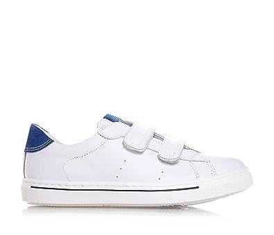 NERO GIARDINI - Chaussure blanche en cuir, avec velcro, logo sur la  languette,