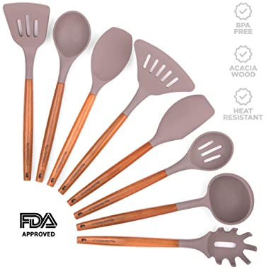 MyLEMONELLA Silicone Kitchen Utensil Set, Acacia Wood Handles, No-Fuss Cooking, Heat Resistant, Food Safe Quality Cooking Utensils, Durable Long Lasting, Attractive 8 PC Spoon, Server, Spatula Set