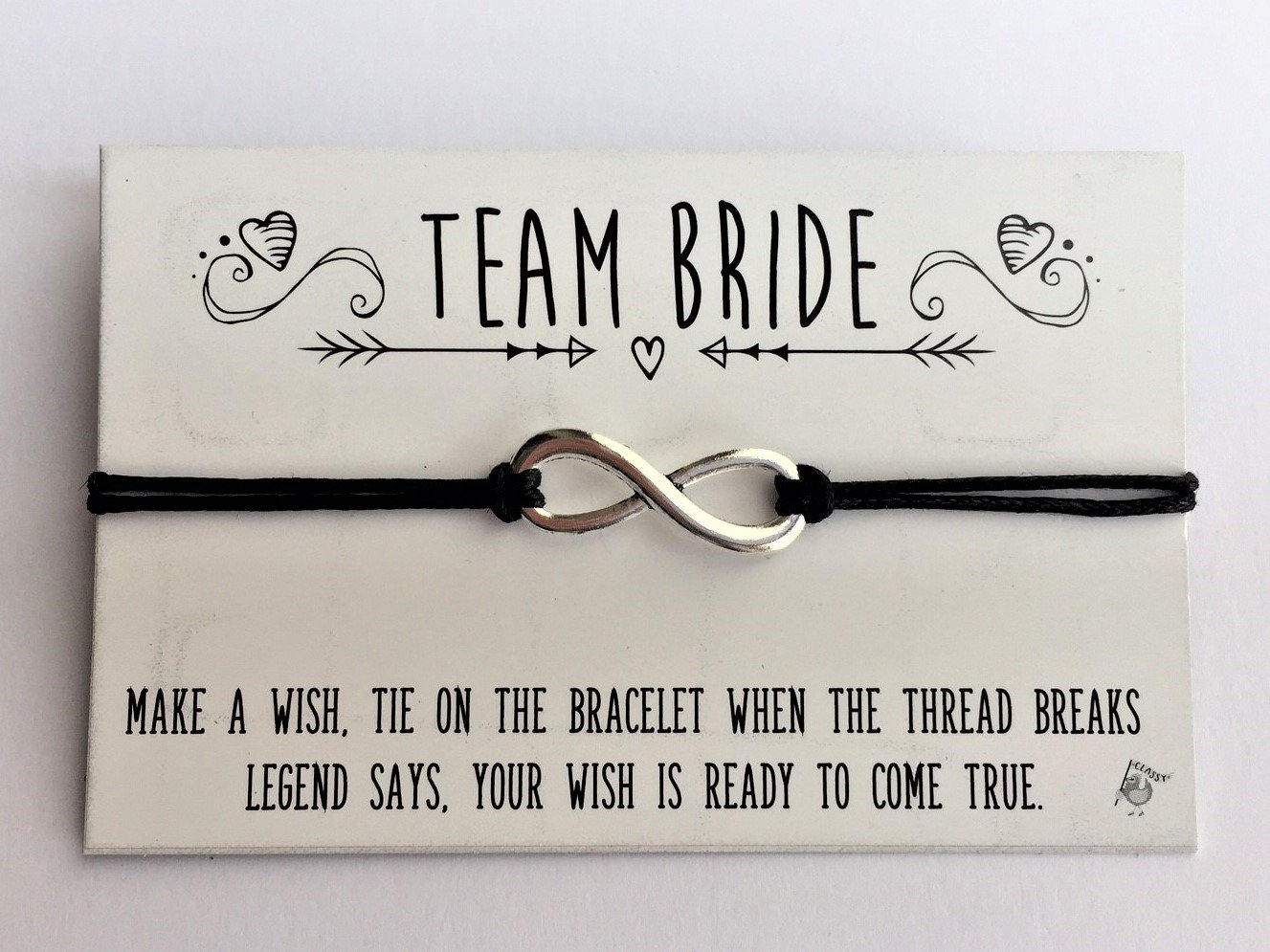 Classy Hen - Hen Party Favours - Bride Tribe - Team Bride - Handmade Wish Bracelet (Bride Tribe 6 Black) 6BTB