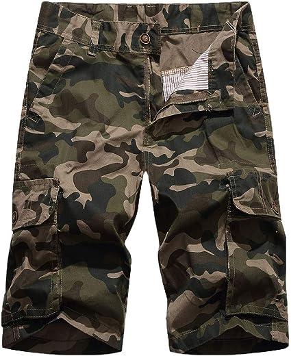 Daorokanduhp Mens Cargo Shorts Elastic Waist Twill Relaxed Fit Multi-Pockets Outdoor Casual Shorts Fashion Slacks Pants