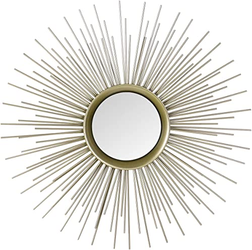 Adeco Home Collection Sunburst Mirror, Classic Metal Decorative Champagne Wall Mirror – 25.2 x 25.2 Inches
