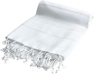 HAVLULAND XX Large 100% Turkish Cotton Prewashed Beach Towel Soft Feel Quick Dry Peshtemal (White) 39
