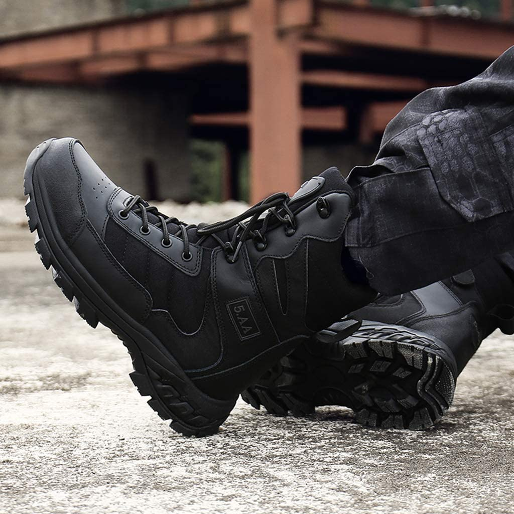 ZZMFC Men's Tactical Army Boots Jungle Breathable Half Leather/Half Nylon with Side Zip Combat boots Desert Non-slip Safety Work Boots Black