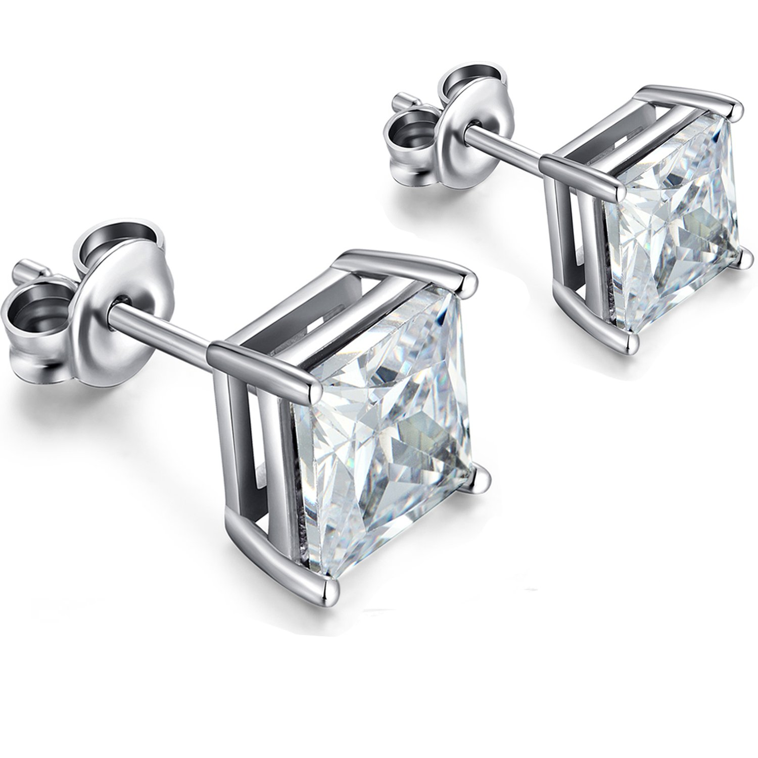 Silver Diamond Stud Earrings - Fashion Cubic Zirconia Sterling Silver Plated Gold Stud Earrings,Princess Cut Square CZ Diamond Gem Stone Stud Earrings for Women Men