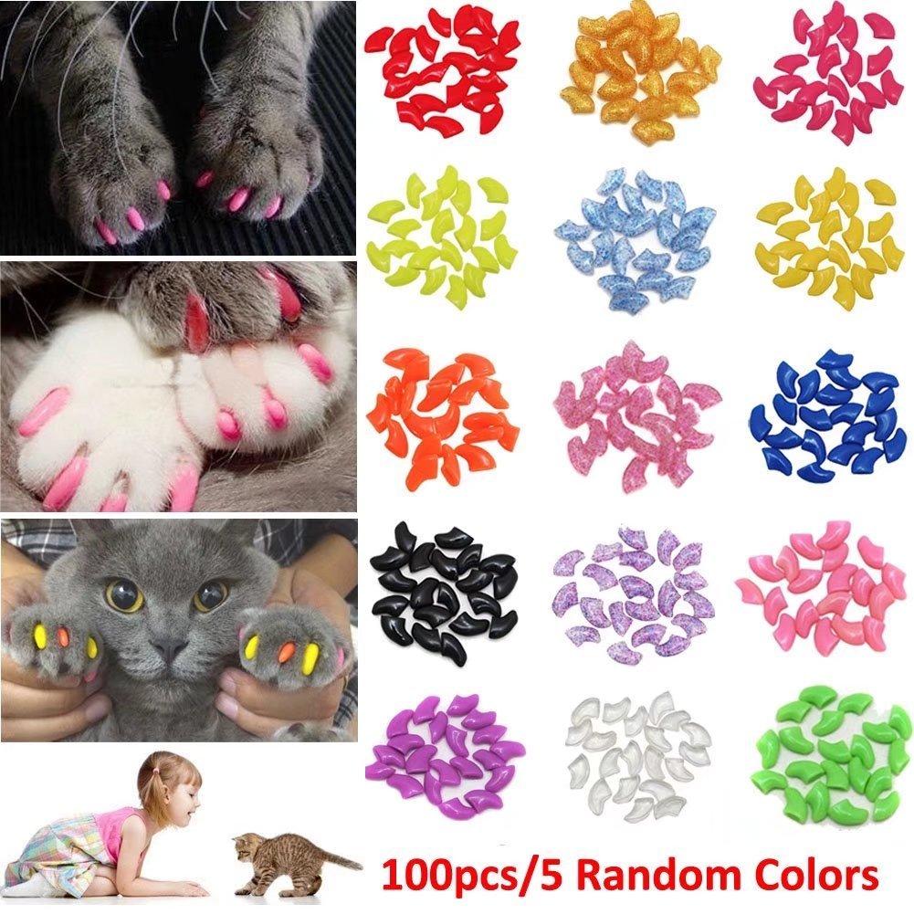 JOYJULY - Juego de 100 Tapas de Uñas para Gato con Diseño de Gato (Incluye 5 Adhesivos + 3 aplicadores con Instrucciones (Idioma español no garantizado): ...