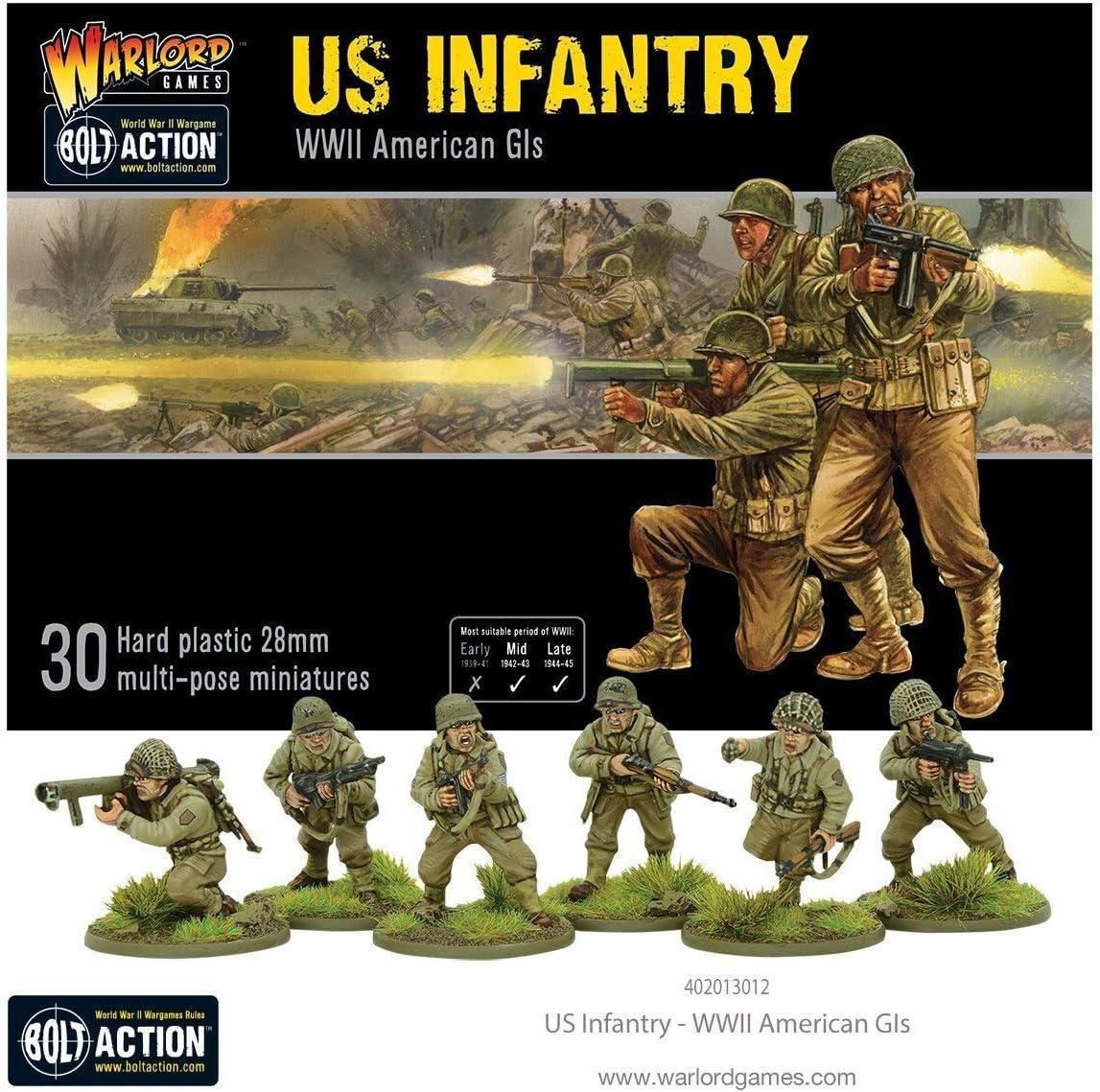 WAR-402013012A - Juegos De Warlord - 30 Infantería Estadounidense - 28 mm Miniaturas De Juegos de Guerra De Plástico - Acción De Cerrojo