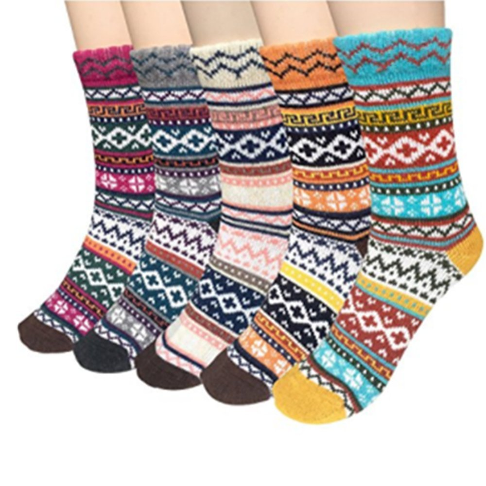 Yaheeda 5 Pairs Womens Cold Weather Soft Warm Thick Knit Crew Casual Winter Wool Socks